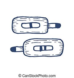 Pregnancy test sticks with results. Hand drawn illustration...