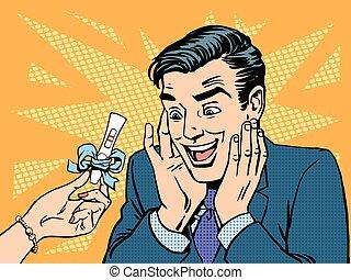 pregnancy test two strips man happy - A pregnancy test two...