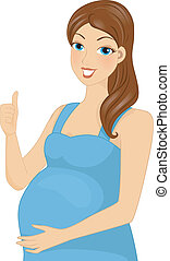 Pregnancy Thumbs Up - Illustration Featuring a Pregnant...