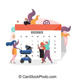 Expectant couple and calendar, vector illustration. Pregnancy day calculation, childbearing concept for web banner, website page etc.