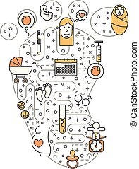 Pregnancy vector flat line art illustration