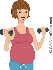 Pregnancy Workout - Illustration of a Pregnant Woman Working...