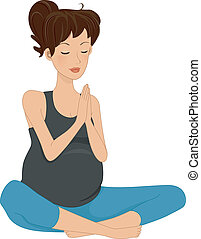 Pregnancy Yoga - Illustration of a Pregnant Woman Doing Yoga