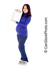 Pregnant asian woman isolated on white with sign
