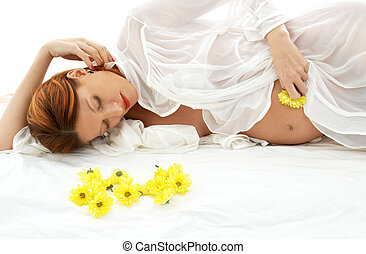 pregnant beauty - beautiful pregnant woman with yellow...