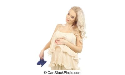 Pregnant belly girls with blue booties, white