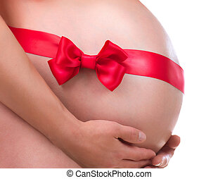 Pregnant Belly with Gift Bow. Pregnancy