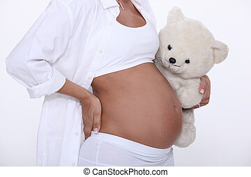 pregnant belly with plush bear