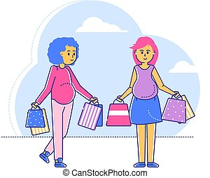 Pregnant best friend walk shopping centre, late gestationperiod, line woman character hold bag with child clothes isolated on white, flat vector illustration. Meeting girls buying thing in mall.