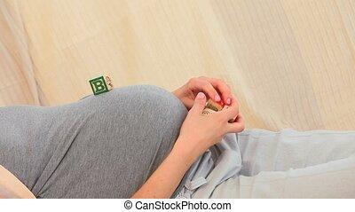 pregnant, blocs, bâtiment, femme