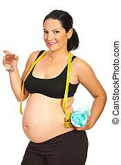pregnant, boire, heureux, eau