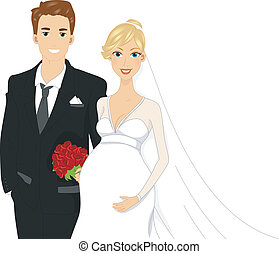 Pregnant Bride - Illustration of a Pregant Bride Standing...