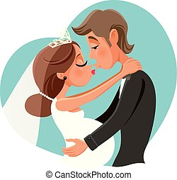 Pregnant Bride Kissing Groom Vector Cartoon