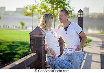 Pregnant couple resting