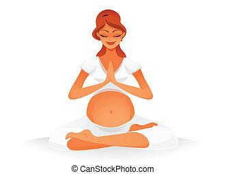 Pregnant doing yoga - pregnant woman doing yoga