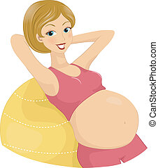 Pregnant Exercises - Illustration of a Pregnant Woman...