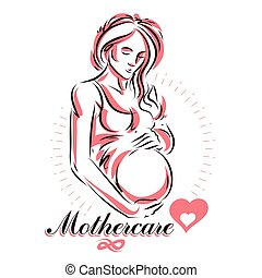 Pregnant female beautiful body outline, mother-to-be drawn vector illustration. Mother Day conceptual flyer