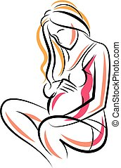 Pregnant female beautiful body outline, mother-to-be vector...