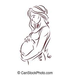 Pregnant female body shape hand drawn vector illustration, beautiful lady gently touching her belly. Love and tenderness concept.