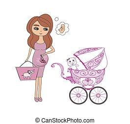 pregnant, femme heureuse, sacs, achats