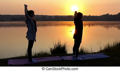 Pregnant Girl Does a Yoga Exercise With Her Coach on a Lake at Sunset in Slo-Mo