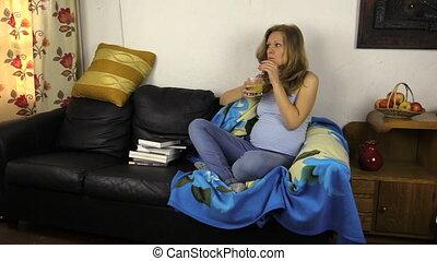Pregnant girl drink juice