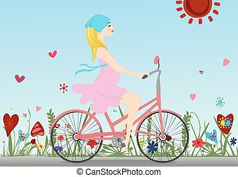 Pregnant girl rides a Bicycle on the field with blue sky background. Vector illustration. Horizontal.