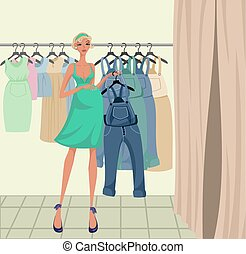 Pregnant girl trying on clothes