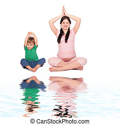 Pregnant girl with child doing exercise siting