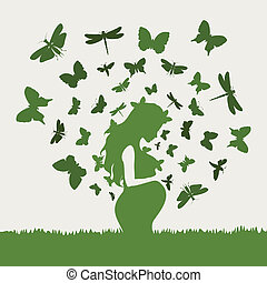 Pregnant girl6 - From the pregnant girl butterflies fly. A...