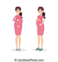 Pregnant happy flat women. Future mom cartoon character....