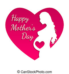 Pregnant Happy mothers day greeting card.