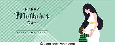 pregnant, mères, illustration, maman, bannière, jour, heureux