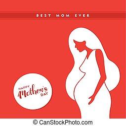 pregnant, mères, illustration, maman, jour, heureux