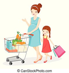 Pregnant Mom And Daughter Shopping Together