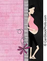 Pregnant Mom - Pregnant modern mom with ruffled lace border.