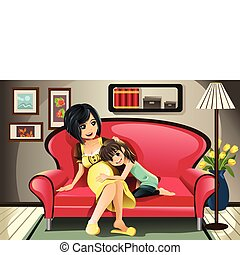 Pregnant mother with her daughter - A vector illustration of...