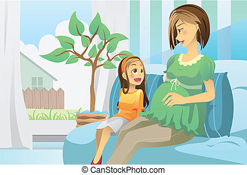 Pregnant mother with her daughter