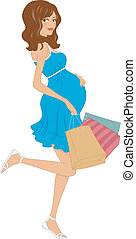 Pregnant Shopper - Illustration of a Pregnant Girl Carrying...