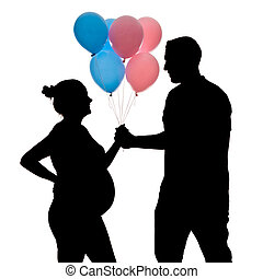 Pregnant silhouette with balloons