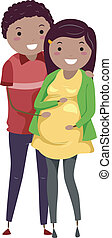 Pregnant Stickwoman and Husband - Illustration of a Pregnant...