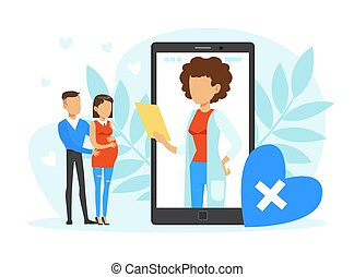 Pregnant Woman and Man Expecting Baby Consulting Gynecologist at Medical Perinatal Centre Vector Illustration. Young Happy Parents Preparing for Childbirth Concept