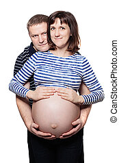 Pregnant Woman and Man. Happy Couple