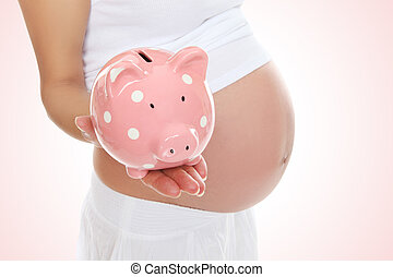 Pregnant Woman and Piggy Bank