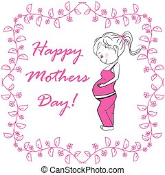 Pregnant woman and pink floral frame on a white background