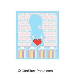 pregnant woman, baby shower card