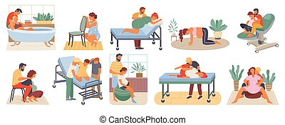Pregnant Woman, Birth Positions, Infant Vector