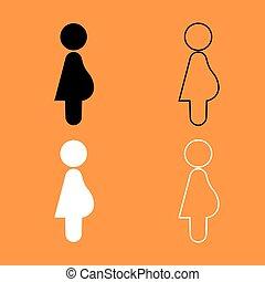 Pregnant woman black and white set icon . - Pregnant woman...