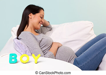 Pregnant woman BOY in letters