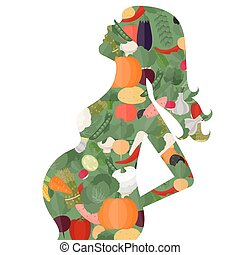 Pregnant woman diet consept. Silhouette of pregnant woman and vegetables.
